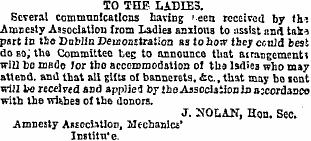 Advertisment in the Freeman's journal on the 30th of September 1869